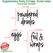 Load image into Gallery viewer, 158 Supplementary Pantry & Fridge Label Set, Script Black Labels