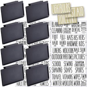 8 Black Clip Label Holders w/70 Household Labels for Bins Baskets or Boxes (BLACK CLIPS / WHITE LABELS)