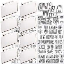 Load image into Gallery viewer, 8 White Clip Label Holders w/70 Household Labels for Bins Baskets or Boxes (WHITE CLIPS / BLACK LABELS)