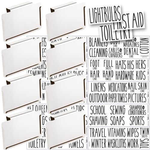 8 White Clip Label Holders w/70 Household Labels for Bins Baskets or Boxes (WHITE CLIPS / BLACK LABELS)