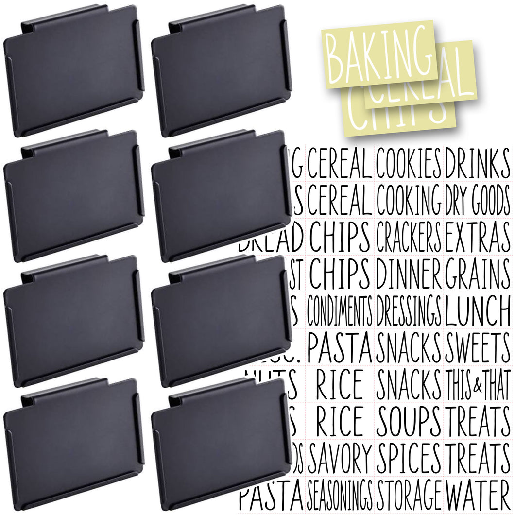 8 Black Clip Label Holders w/40 Pantry Labels for Bins Baskets or Boxes (BLACK CLIPS / WHITE LABELS)