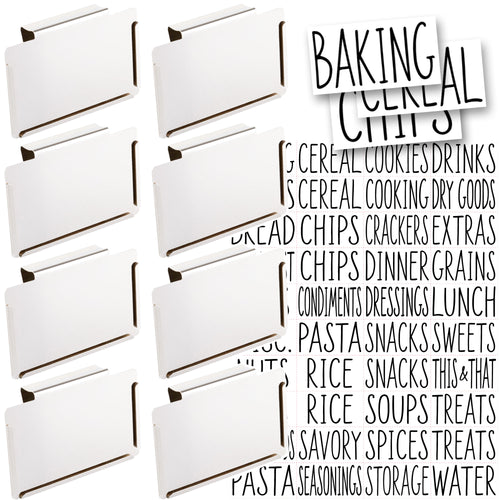 8 White Clip Label Holders w/40 Pantry Labels for Bins Baskets or Boxes (WHITE CLIPS / BLACK LABELS)
