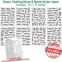 Load image into Gallery viewer, Script Closet, Shoes & Sports Label Set, 224 Black Labels