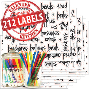 Arts, Crafts & Home Office Label Set, 212 Black Script Labels