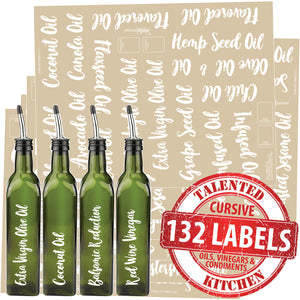 132 Oils, Vinegars & Condiments, White Cursive Labels