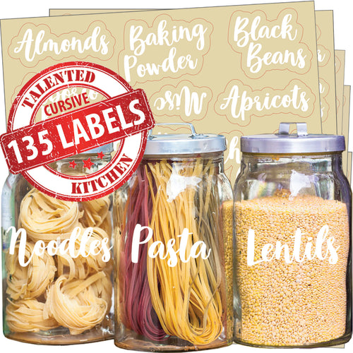 Cursive Pantry Label Set, 135 White Labels