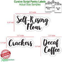 Load image into Gallery viewer, Main Cursive Pantry Labels Set, 135 Black Labels