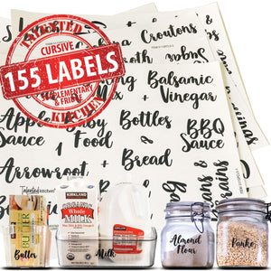 Complementary Cursive Pantry Label Set, 155 Black Labels