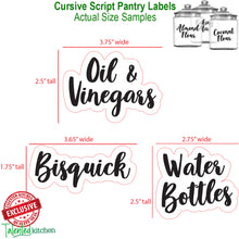Load image into Gallery viewer, Complementary Cursive Pantry Label Set, 155 Black Labels