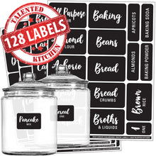 Load image into Gallery viewer, Cursive Chalkboard Pantry Label Set, 128 Black Labels