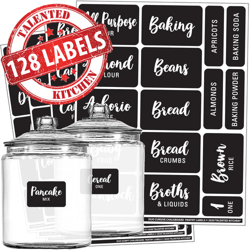 Cursive Chalkboard Pantry Label Set, 128 Black Labels