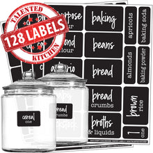 Load image into Gallery viewer, Script Chalkboard Pantry Label Set, 128 Black Labels