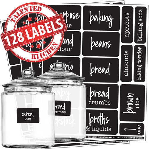 Script Chalkboard Pantry Label Set, 128 Black Labels