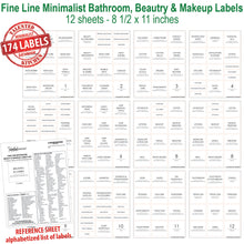 Load image into Gallery viewer, Fine Line Minimalist Bathroom, Beauty & Makeup Label Set, 174 Labels