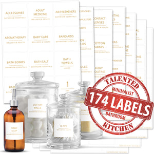 NEW in GOLD! Minimalist Bathroom, Beauty & Makeup Label Set, 174 Gold Labels