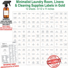Load image into Gallery viewer, NOW in GOLD! Minimalist Laundry Room Label Set, 144 Gold Labels