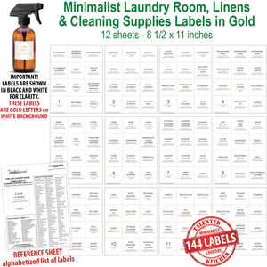 NOW in GOLD! Minimalist Laundry Room Label Set, 144 Gold Labels