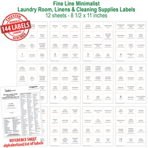 Fine Line Minimalist Laundry Room Label Set, 144 Labels