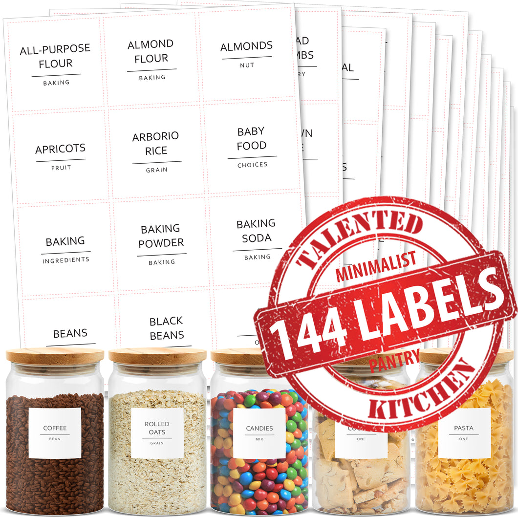 Minimalist Pantry Labels, 144 Labels