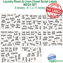 Load image into Gallery viewer, Script Laundry Room Label Set, 141 Black Labels