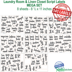 Script Laundry Room Label Set, 141 Black Labels