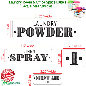 Farmhouse Laundry Room Label Set, 138 Black Labels