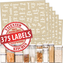 Load image into Gallery viewer, Medium Size Script Pantry Labels, 375 White Labels