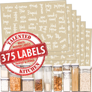 Medium Size Script Pantry Labels, 375 White Labels