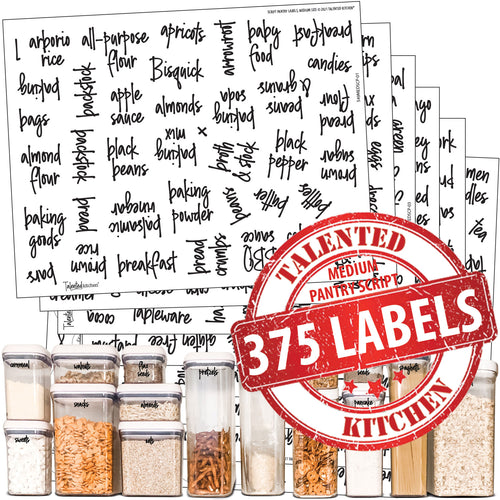 Medium Size Script Pantry Labels, 375 Black Labels