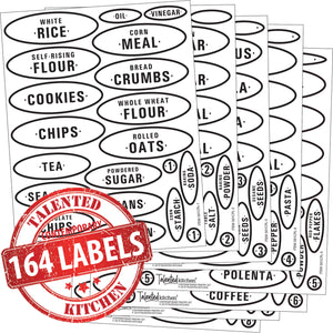 Contemporary Pantry Label Set, 164 Black Labels