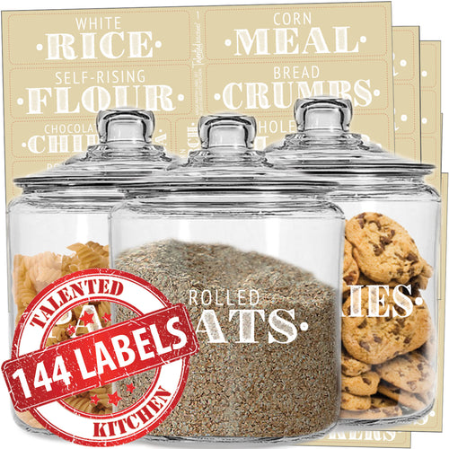Mega Farmhouse Pantry Label Set, 144 White Labels