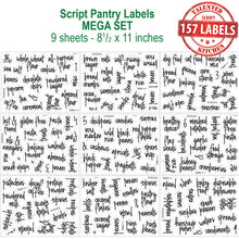 Load image into Gallery viewer, Mega Script Pantry Label Set, 157 Black Labels