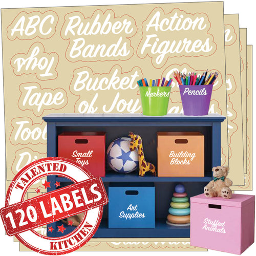 Playroom Label Set, 120 White Labels