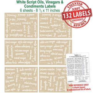 132 Oils, Vinegars & Condiments, White Script Labels
