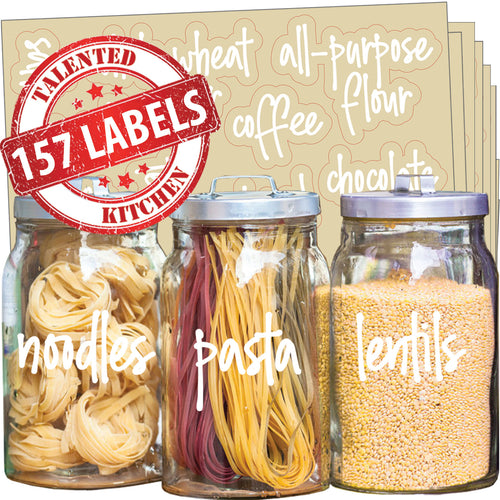 Mega Script Pantry Label Set, 157 White Labels