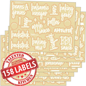 158 Supplementary Pantry & Fridge Label Set, Script White Labels
