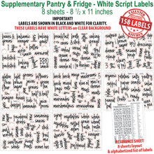 Load image into Gallery viewer, 158 Supplementary Pantry & Fridge Label Set, Script White Labels