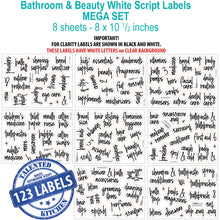 Load image into Gallery viewer, Script Bathroom Label Set, 123 White Labels