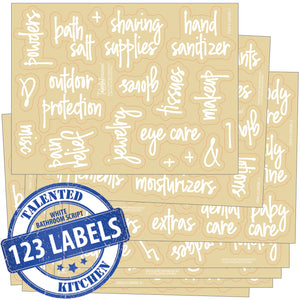 Script Bathroom Label Set, 123 White Labels