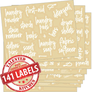 Script Laundry Room Label Set, 141 White Labels