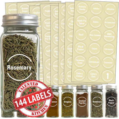 Round Spice Label Set, 144 White Labels