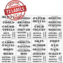 Load image into Gallery viewer, Farmhouse Bathroom Label Set, 72 Black Labels