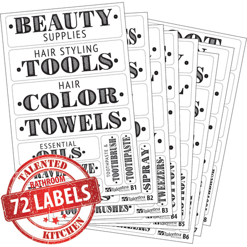 Farmhouse Bathroom Label Set, 72 Black Labels