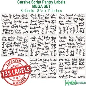 Main Cursive Pantry Labels Set, 135 Black Labels