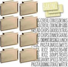 Load image into Gallery viewer, 8 Gold Clip Label Holders w/40 Pantry Labels for Bins Baskets or Boxes (GOLD CLIPS / WHITE LABELS)