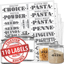 Load image into Gallery viewer, Healthy Choice Farmhouse Pantry Label Set, 110 Black Labels