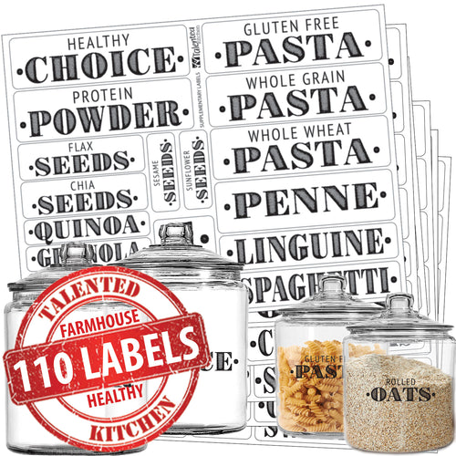 Healthy Choice Farmhouse Pantry Label Set, 110 Black Labels