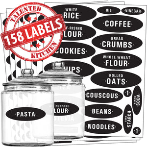 Chalkboard Pantry Label Set, 158 Black Labels