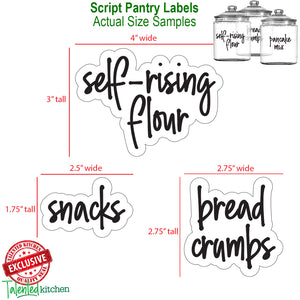 Mega Script Pantry Label Set, 157 Black Labels