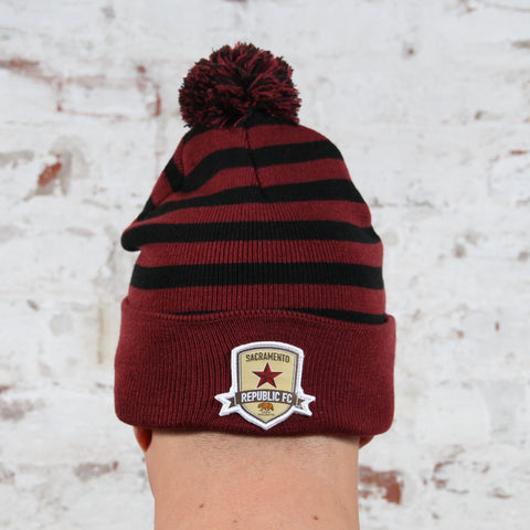 Striped Pom Beanie with Cuff by Official Brand